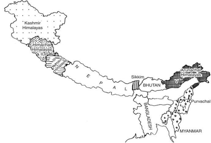 lesser himalayas trans himalayas