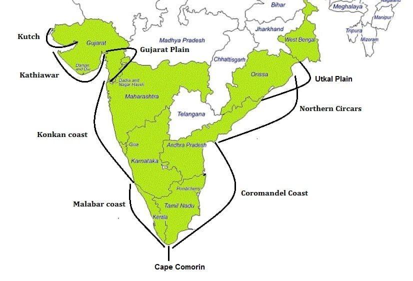 western eastern coastal plains in india konkan malabar coromandel coast map