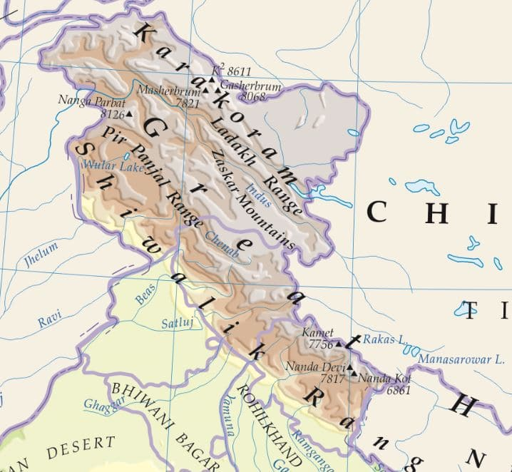 map of mountains plateaus mountain ranges in india highest peak in south india
