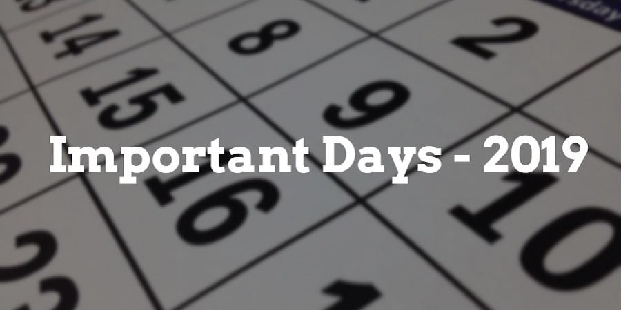 important days and dates of India